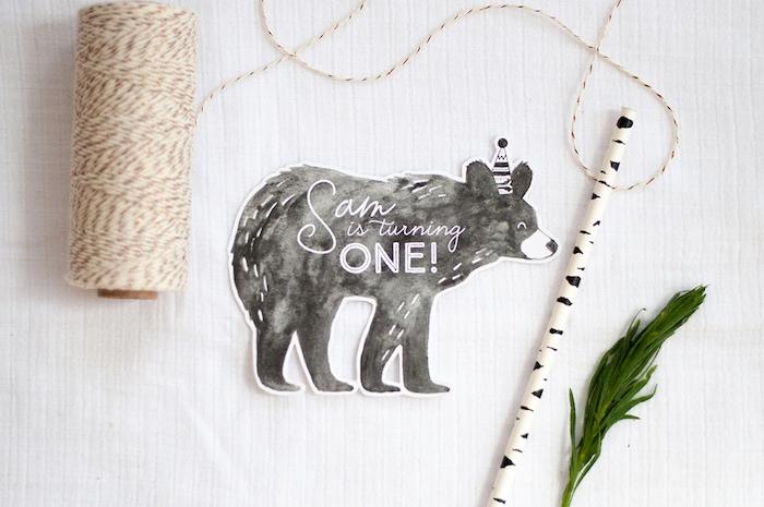 Invitation from a Grizzly Bear Man Cub 1st Birthday Party on Kara's Party Ideas | KarasPartyIdeas.com (48)