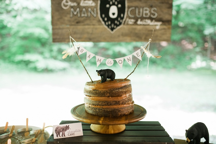 Chocolate naked cake from a Grizzly Bear Man Cub 1st Birthday Party on Kara's Party Ideas | KarasPartyIdeas.com (45)