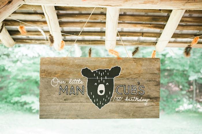 Wooden bear sign from a Grizzly Bear Man Cub 1st Birthday Party on Kara's Party Ideas | KarasPartyIdeas.com (44)