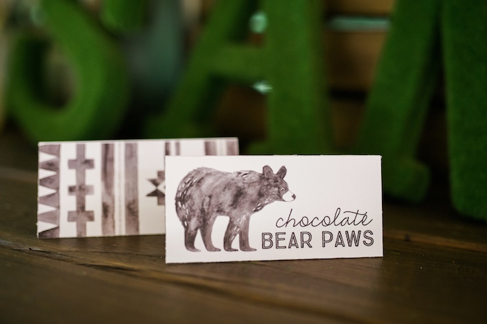 Tent labels from a Grizzly Bear Man Cub 1st Birthday Party on Kara's Party Ideas | KarasPartyIdeas.com (43)