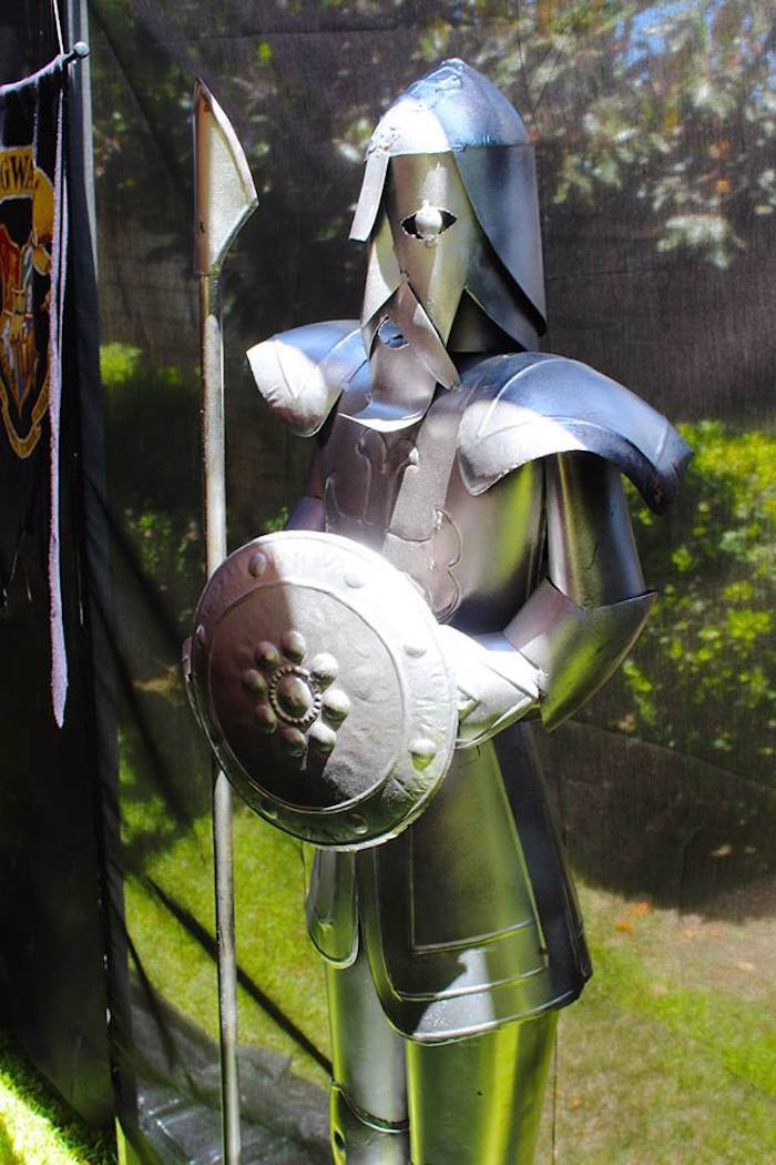 Medieval suit armor statue from a Harry Potter Birthday Party via Kara's Party Ideas KarasPartyIdeas.com (46)