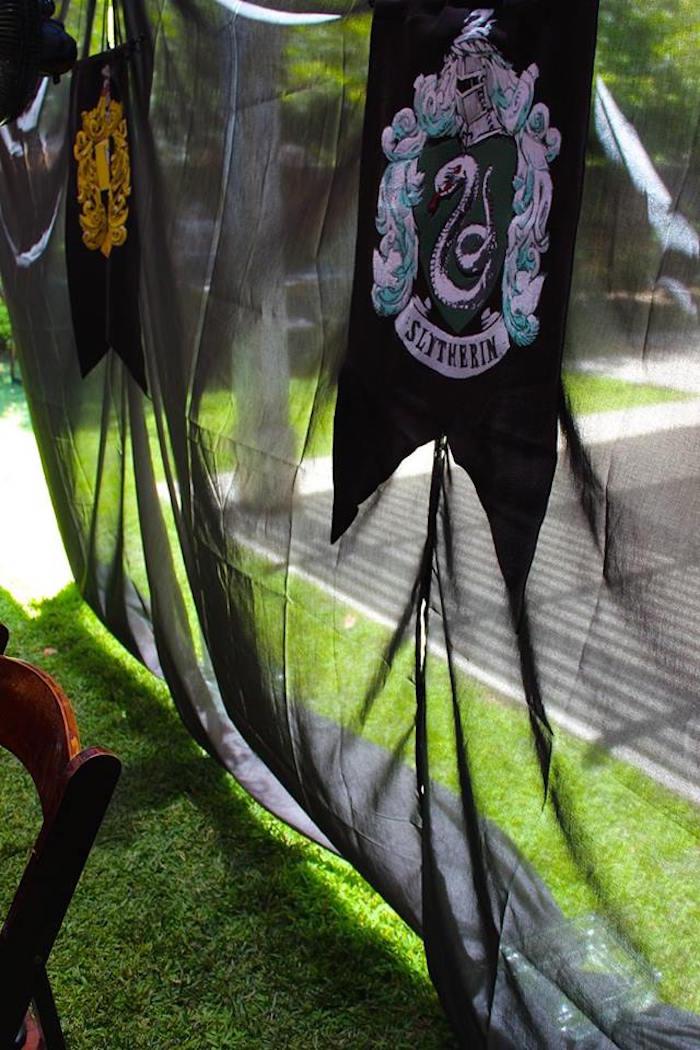 Slytherin House Banner from a Harry Potter Birthday Party via Kara's Party Ideas KarasPartyIdeas.com (27)