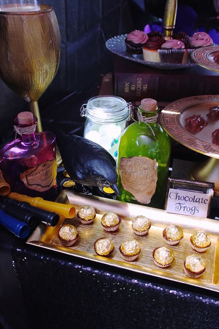 Truffles and potion bottles from a Gryffindor Harry Potter Birthday Party via Kara's Party Ideas KarasPartyIdeas.com (54)