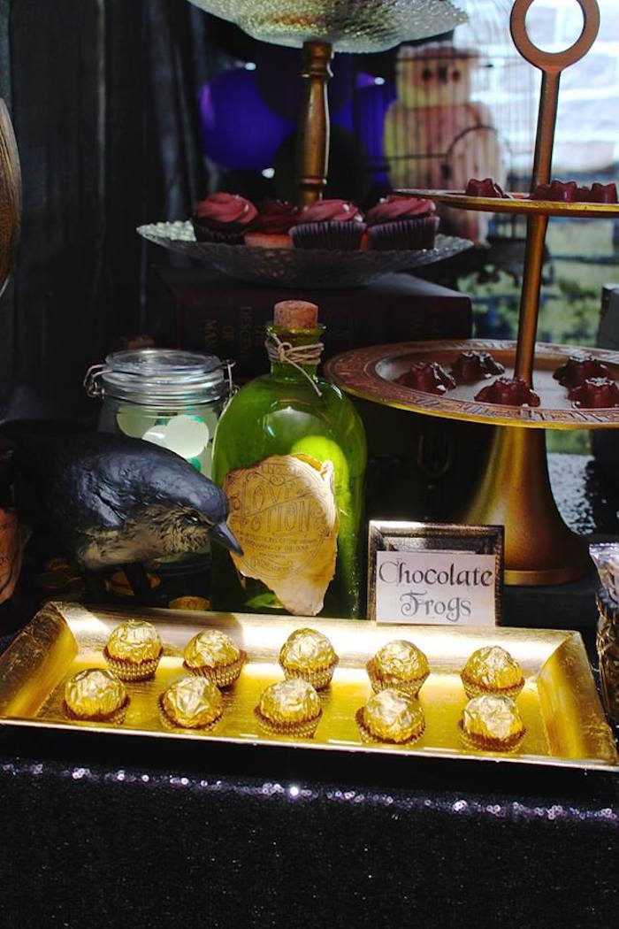 Truffles, chocolate frogs and potions from a Harry Potter Birthday Party via Kara's Party Ideas KarasPartyIdeas.com (22)