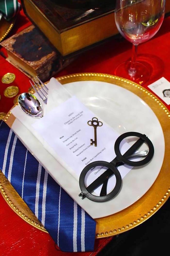 Place setting from a Harry Potter Birthday Party via Kara's Party Ideas KarasPartyIdeas.com (15)