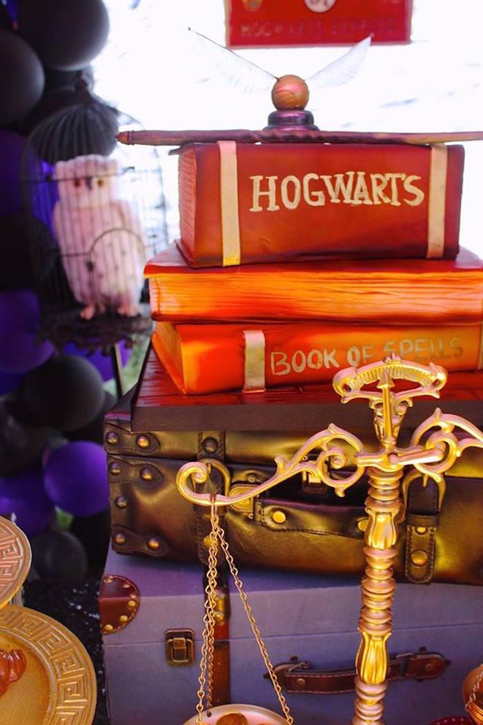 Book stack cake from a Harry Potter Birthday Party via Kara's Party Ideas KarasPartyIdeas.com (13)