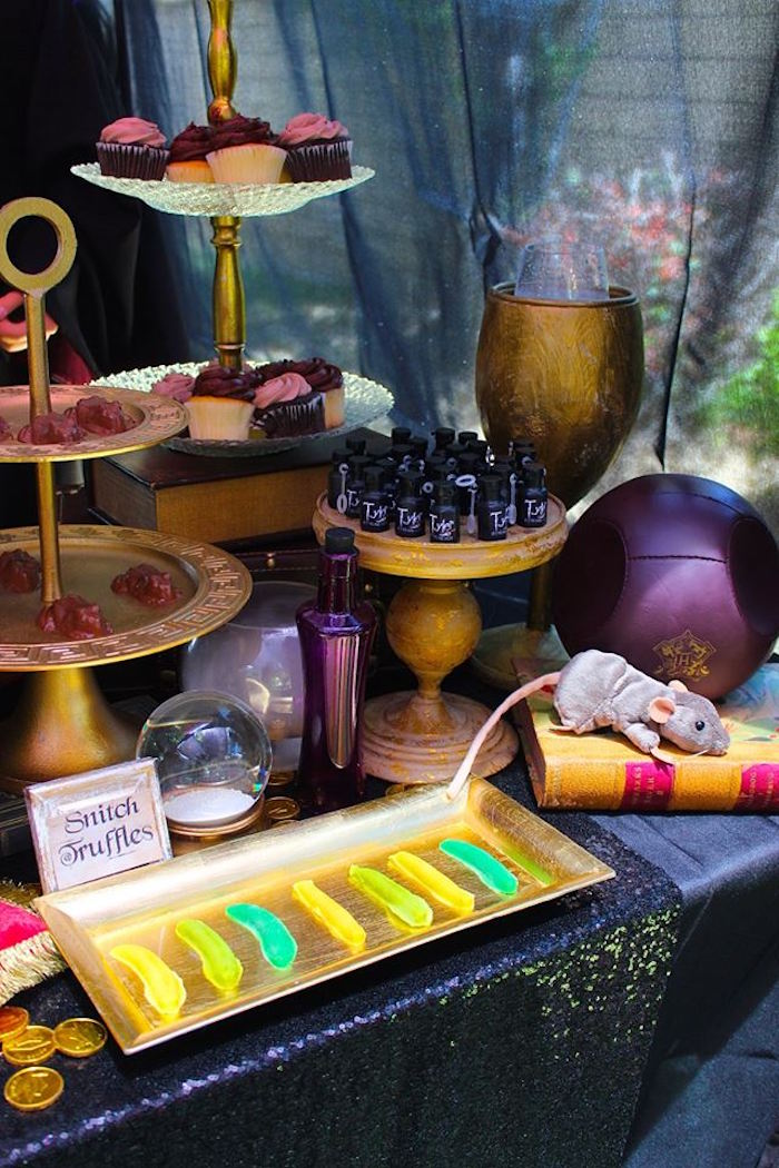 Dessert table details from a Gryffindor Harry Potter Birthday Party via Kara's Party Ideas KarasPartyIdeas.com (8)