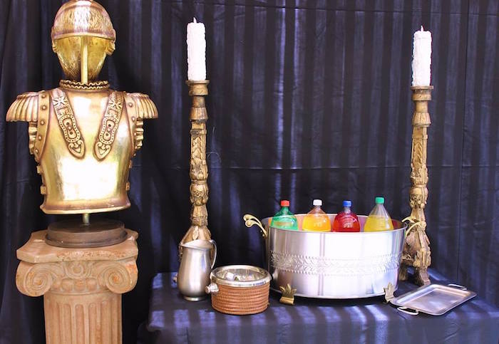 Drink table from a Gryffindor Harry Potter Birthday Party via Kara's Party Ideas KarasPartyIdeas.com (5)