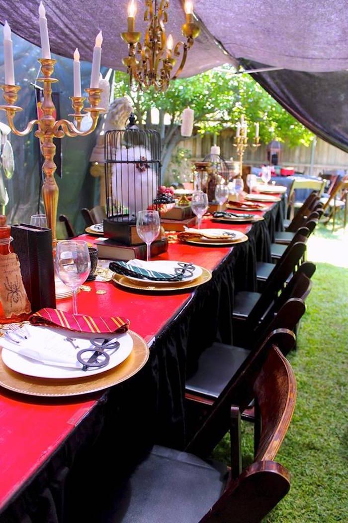 Great Hall Dining Table from a Harry Potter Birthday Party via Kara's Party Ideas KarasPartyIdeas.com (47)