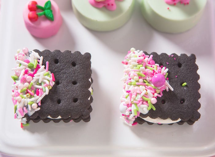 Custom sprinkled Oreo cookies from an Ice Cream Parlour Birthday Party via Kara's Party Ideas KarasPartyIdeas.com (49)