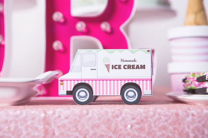 Ice cream truck decoration from an Ice Cream Parlour Birthday Party via Kara's Party Ideas KarasPartyIdeas.com (48)