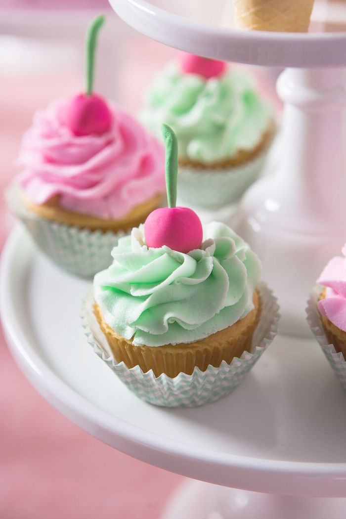 Ice cream-inspired cupcakes from an Ice Cream Parlour Birthday Party via Kara's Party Ideas KarasPartyIdeas.com (47)