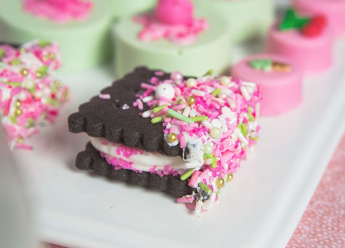 Sprinkled Oreo cookies from an Ice Cream Parlour Birthday Party via Kara's Party Ideas KarasPartyIdeas.com (41)