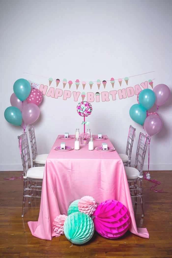 Guest table from an Ice Cream Parlour Birthday Party via Kara's Party Ideas KarasPartyIdeas.com (29)
