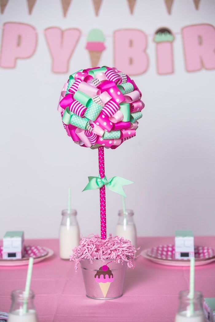 Ribbon pomander centerpiece from an Ice Cream Parlour Birthday Party via Kara's Party Ideas KarasPartyIdeas.com (25)
