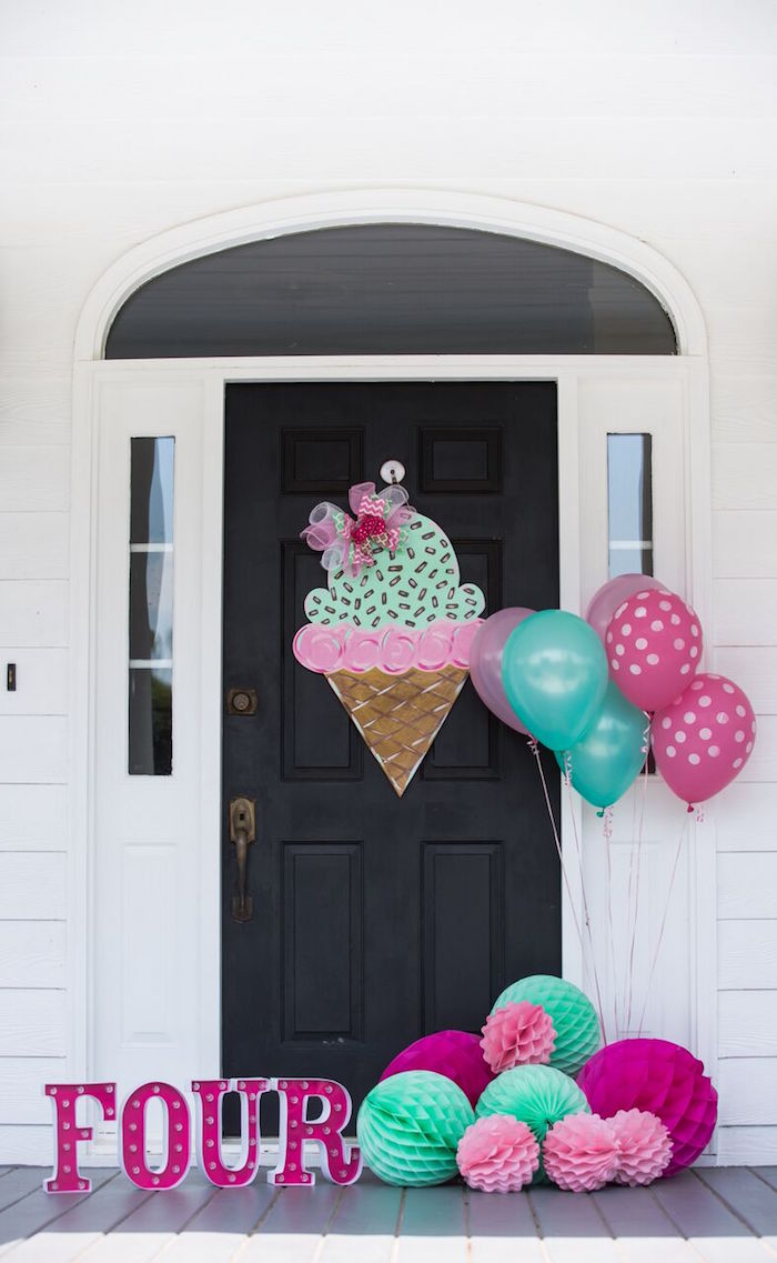 Party entrance/doorway from an Ice Cream Parlour Birthday Party via Kara's Party Ideas KarasPartyIdeas.com (24)