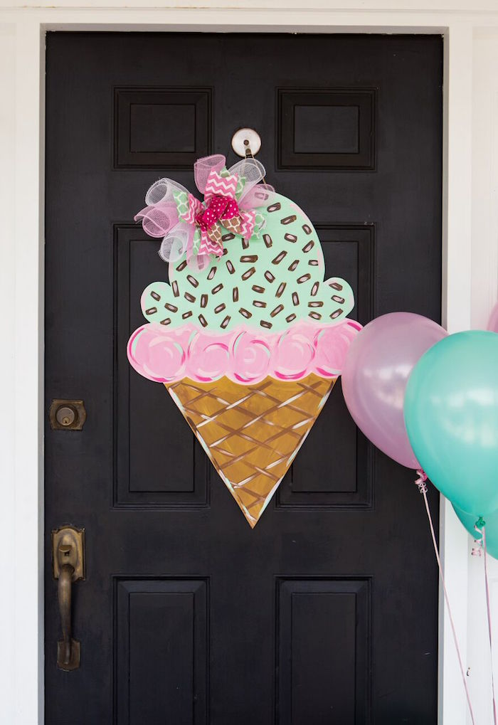 Door/entrance to an Ice Cream Parlour Birthday Party via Kara's Party Ideas KarasPartyIdeas.com (23)