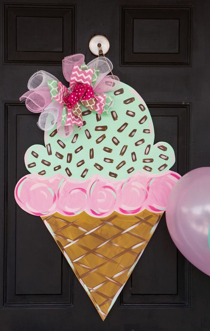 Oversized ice cream cone door decoration from an Ice Cream Parlour Birthday Party via Kara's Party Ideas KarasPartyIdeas.com (22)