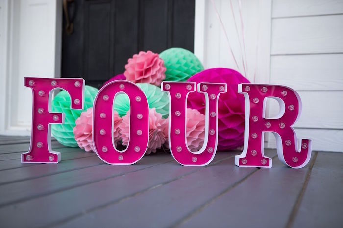 Marquee letter lights from an Ice Cream Parlour Birthday Party via Kara's Party Ideas KarasPartyIdeas.com (20)