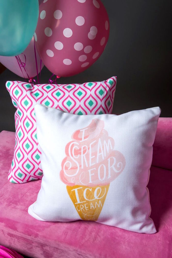 Pillows from an Ice Cream Parlour Birthday Party via Kara's Party Ideas KarasPartyIdeas.com (17)