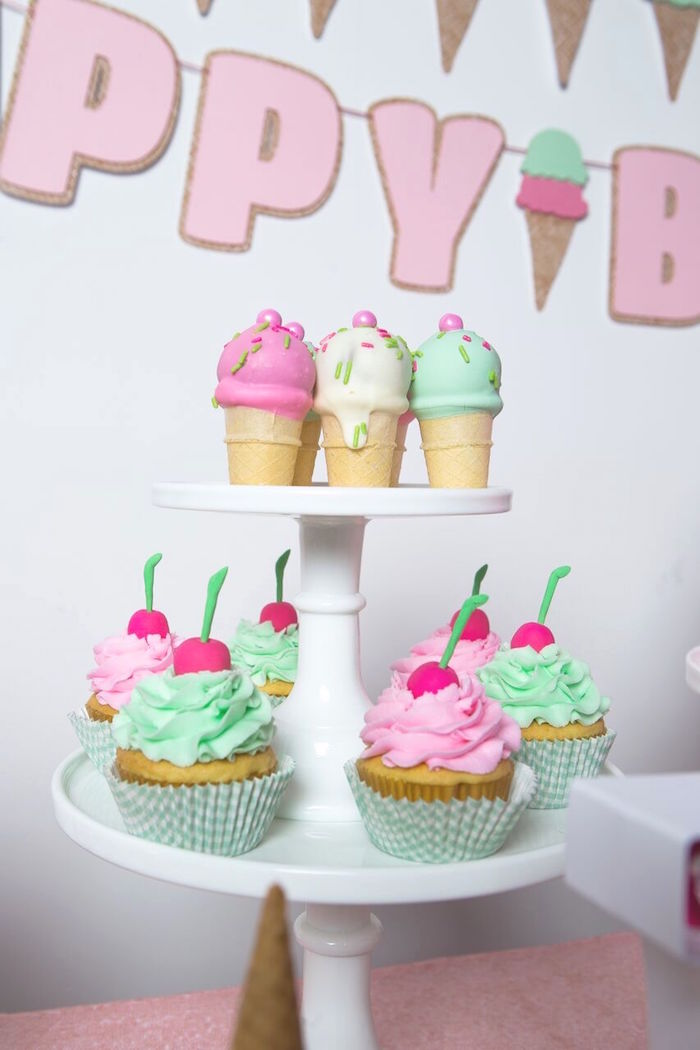 Ice cream cone cake pops + cupcakes from an Ice Cream Parlour Birthday Party via Kara's Party Ideas KarasPartyIdeas.com (55)