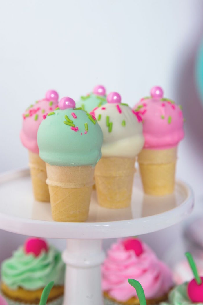 Ice cream cone cake pops from an Ice Cream Parlour Birthday Party via Kara's Party Ideas KarasPartyIdeas.com (54)