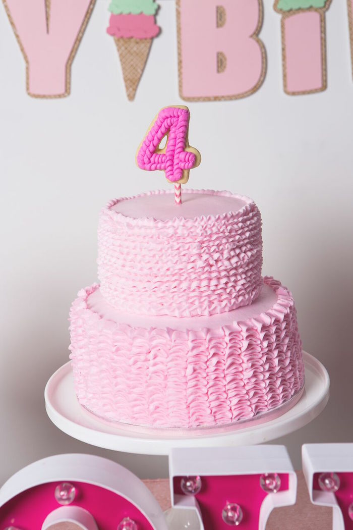 Pink ruffled cake from an Ice Cream Parlour Birthday Party via Kara's Party Ideas KarasPartyIdeas.com (53)