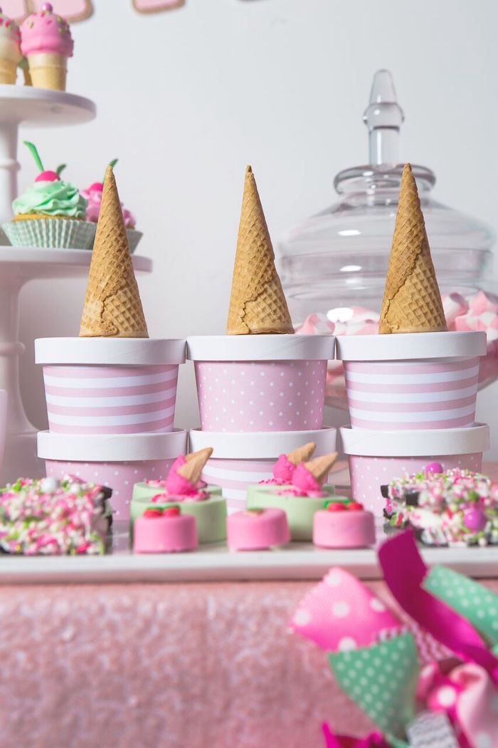 Ice cream cups from an Ice Cream Parlour Birthday Party via Kara's Party Ideas KarasPartyIdeas.com (51)