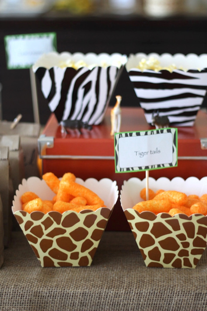 Tiger tail cheetos from a Jungle Safari Birthday Party via Kara's Party Ideas | KarasPartyIdeas.com (24)