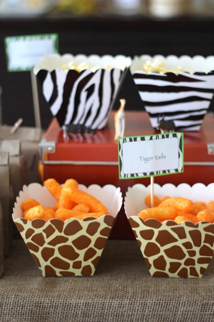 Tiger tail cheetos from a Jungle Safari Birthday Party via Kara's Party Ideas | KarasPartyIdeas.com (24)