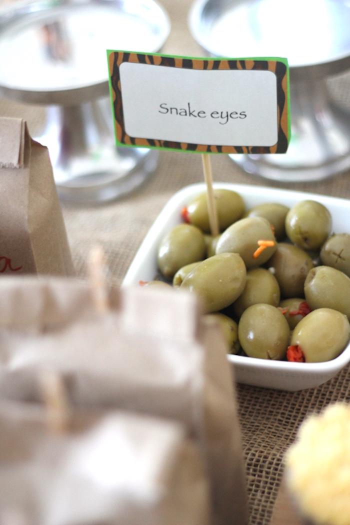 Green olive snake eyes from a Jungle Safari Birthday Party via Kara's Party Ideas | KarasPartyIdeas.com (22)