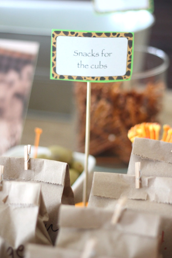 Cub snack bags from a Jungle Safari Birthday Party via Kara's Party Ideas | KarasPartyIdeas.com (21)