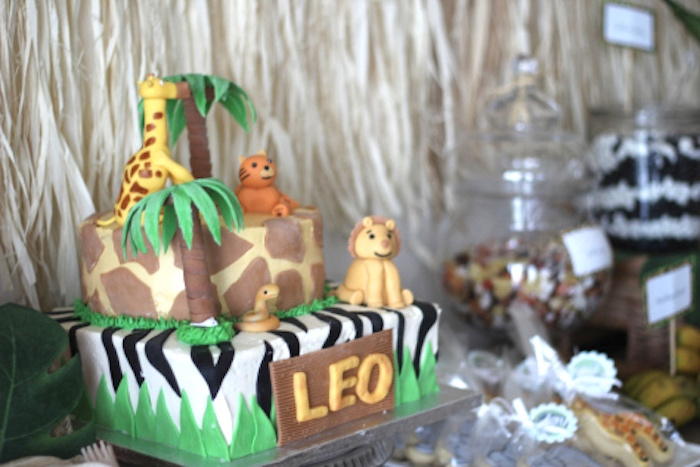 Jungle safari cake from a Jungle Safari Birthday Party via Kara's Party Ideas | KarasPartyIdeas.com (15)