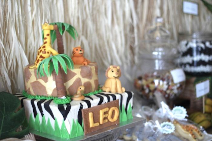 Jungle safari cake from a Jungle Safari Birthday Party via Kara's Party Ideas | KarasPartyIdeas.com (15)