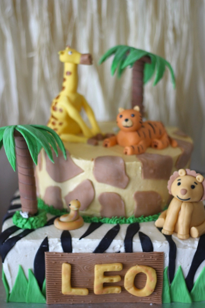 Jungle safari cake from a Jungle Safari Birthday Party via Kara's Party Ideas | KarasPartyIdeas.com (14)
