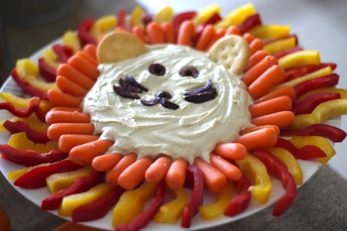 Lion veggie platter from a Jungle Safari Birthday Party via Kara's Party Ideas | KarasPartyIdeas.com (13)