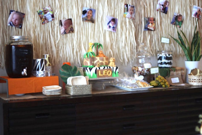 Cake & drink table from a Jungle Safari Birthday Party via Kara's Party Ideas | KarasPartyIdeas.com (6)