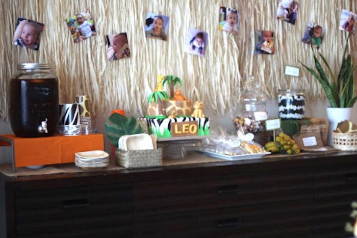 Cake & drink table from a Jungle Safari Birthday Party via Kara's Party Ideas | KarasPartyIdeas.com (6)