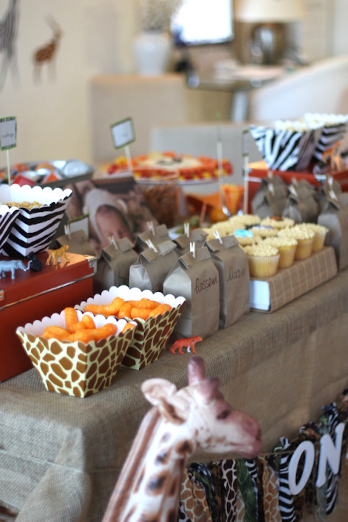 Side-view of party table from a Jungle Safari Birthday Party via Kara's Party Ideas | KarasPartyIdeas.com (5)