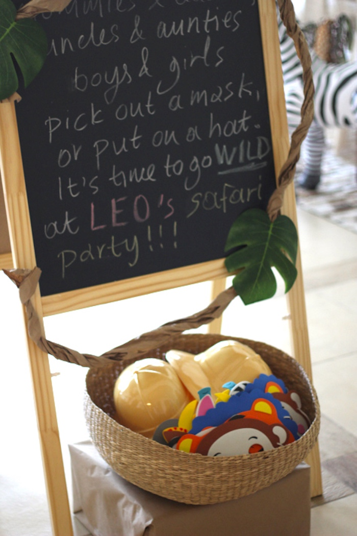 Welcome chalkboard sign + party favors from a Jungle Safari Birthday Party via Kara's Party Ideas | KarasPartyIdeas.com (32)