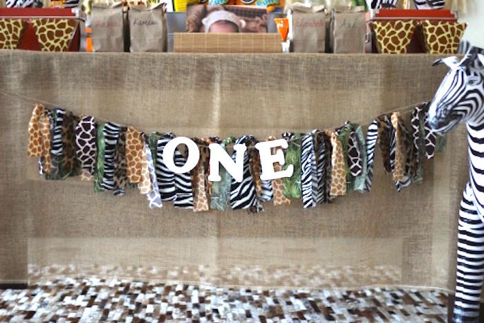 Animal print ribbon tassel banner from a Jungle Safari Birthday Party via Kara's Party Ideas | KarasPartyIdeas.com (31)
