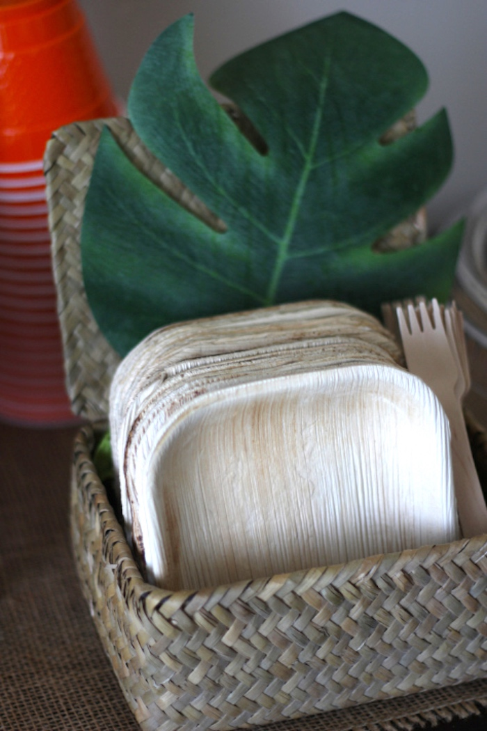 Wooden forks and square plates from a Jungle Safari Birthday Party via Kara's Party Ideas | KarasPartyIdeas.com (30)