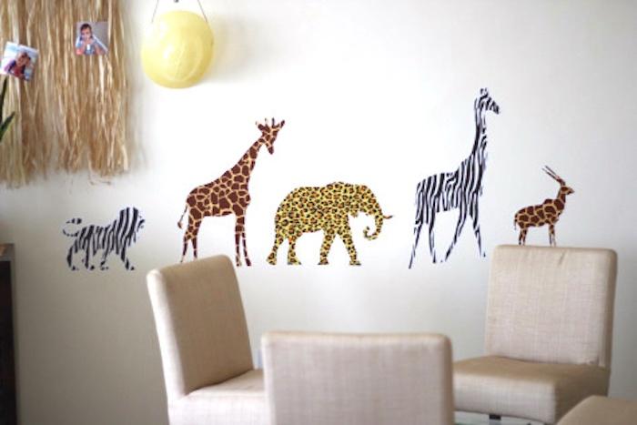 Jungle + safari animal wall decals from a Jungle Safari Birthday Party via Kara's Party Ideas | KarasPartyIdeas.com (27)