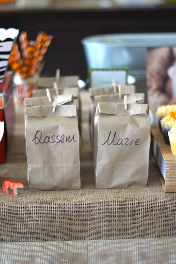 Brown paper snack bags from a Jungle Safari Birthday Party via Kara's Party Ideas | KarasPartyIdeas.com (25)
