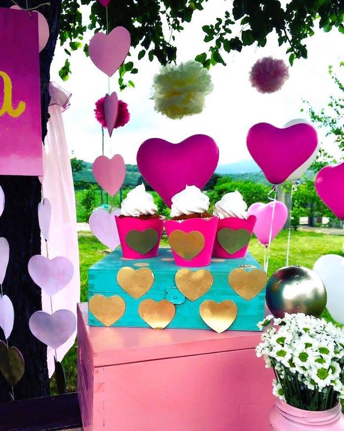 Kara\'s Party Ideas LOVE Pink Ombre + Gold Birthday Party   Kara\'s ...