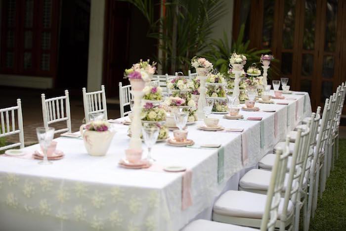 Tea tablescape from a Laduree Tea Party at Kara's Party Ideas | KarasPartyIdeas.com (37)