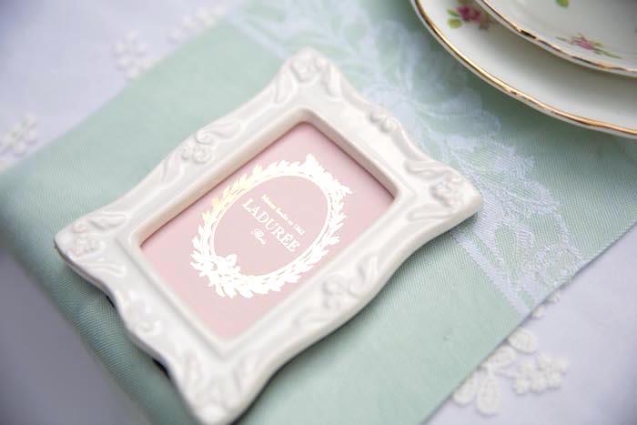 Ceramic frame from a Laduree Tea Party at Kara's Party Ideas | KarasPartyIdeas.com (34)