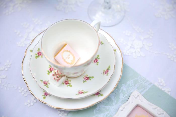 Tea cup + saucer from a Laduree Tea Party at Kara's Party Ideas | KarasPartyIdeas.com (33)