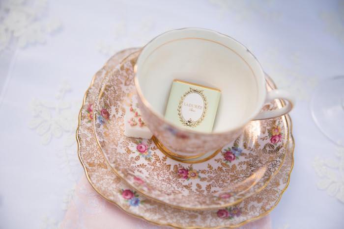 Tea cup + saucer from a Laduree Tea Party at Kara's Party Ideas | KarasPartyIdeas.com (31)