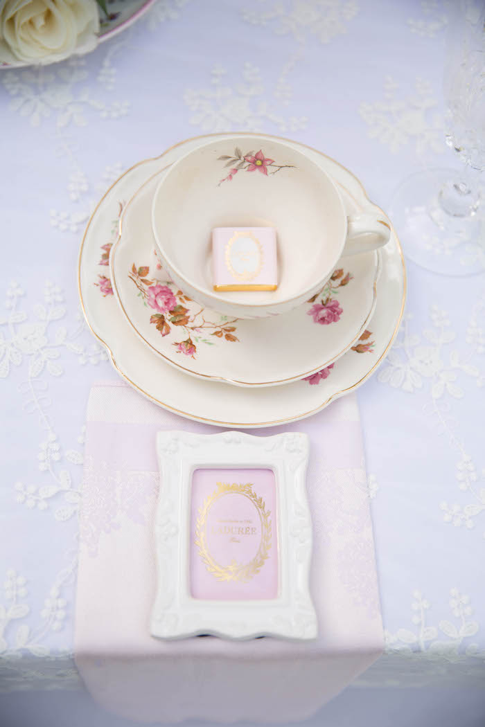 Place setting from a Laduree Tea Party at Kara's Party Ideas | KarasPartyIdeas.com (30)